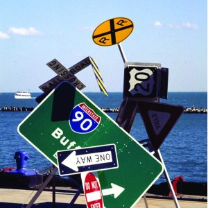 "Directing Trafic traffic Signs, Steel, electric motor 60"" x 36"" x 36"" 2002"
